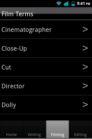 Film Terms - screenshot