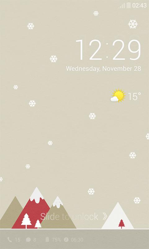 Pastel Snow Dodol Locker Theme - screenshot