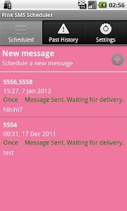 Pink SMS Scheduler screenshot 1