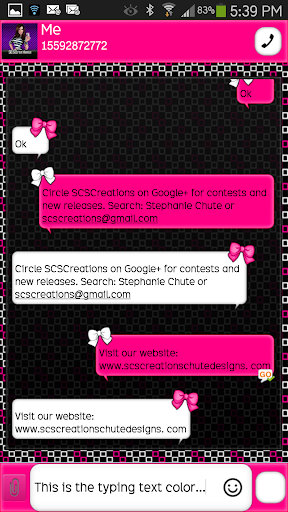 GO SMS - Girly Skulls 11