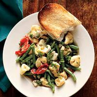 Warm Tortellini Salad with Roasted Tomatoes and Green Beans.