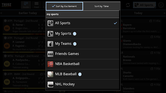 Thuuz Sports for Google TV - screenshot thumbnail