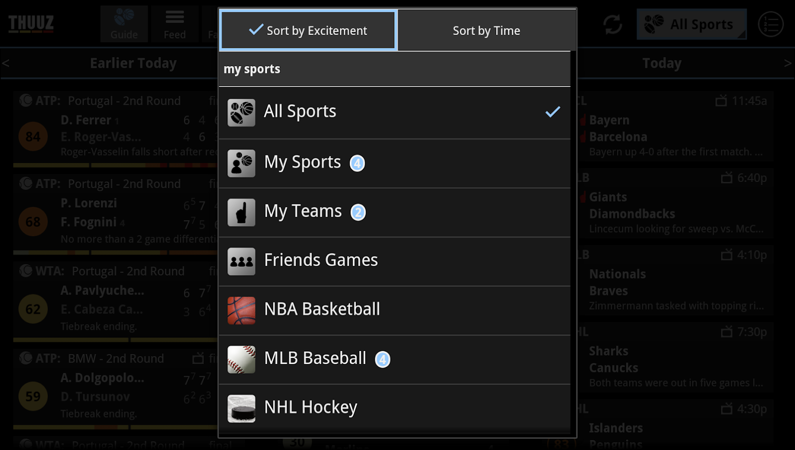 Thuuz Sports for Google TV - screenshot