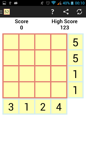 52 Number Puzzle Game