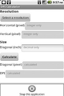 DPI Calculator (App Inventor) - screenshot thumbnail