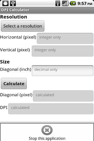 DPI Calculator (App Inventor)- screenshot