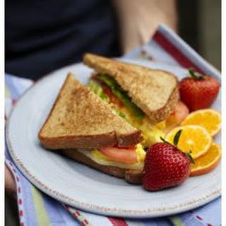 Scrambled Eggs, Tomato, Mozzarella and Basil Sandwich