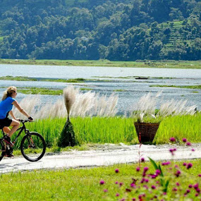 cycling with nature by Raj Tandukar - People Street & Candids ( nature, cycling, panorama )