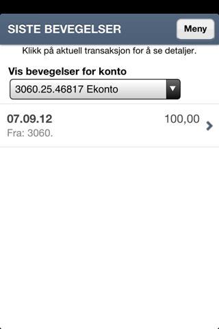 Spareskillingsbanken Mobilbank- screenshot