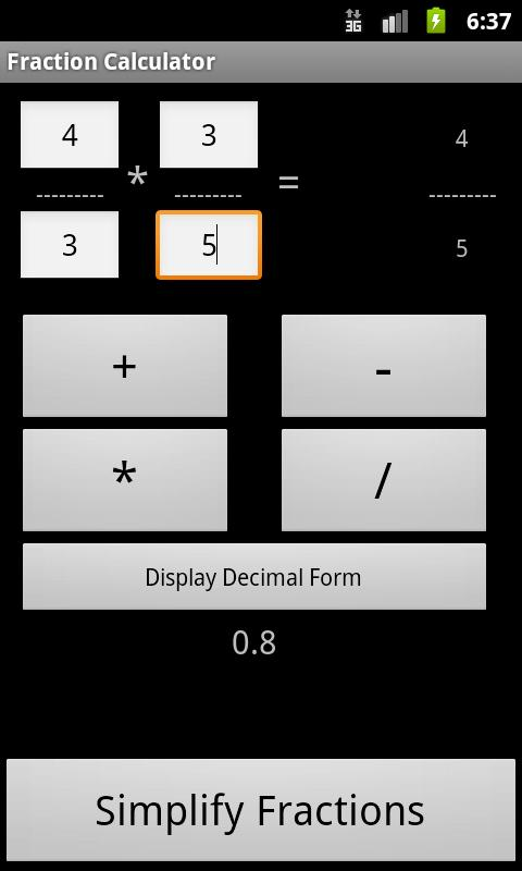 Fraction Calculator Free - screenshot
