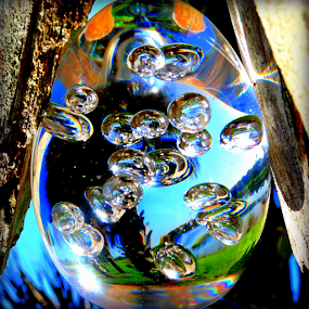 Morning Dew  by Elfie Back - Artistic Objects Glass ( glass art, ornament, morning dew, crystal orb, , serenity, blue, mood, factory, charity, autism, light, awareness, lighting, bulbs, LIUB, april 2nd )