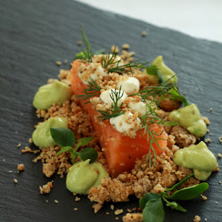 Salmon Fillets With Hazelnut Crumble And Avocado And Horseradish Whipped Cream.