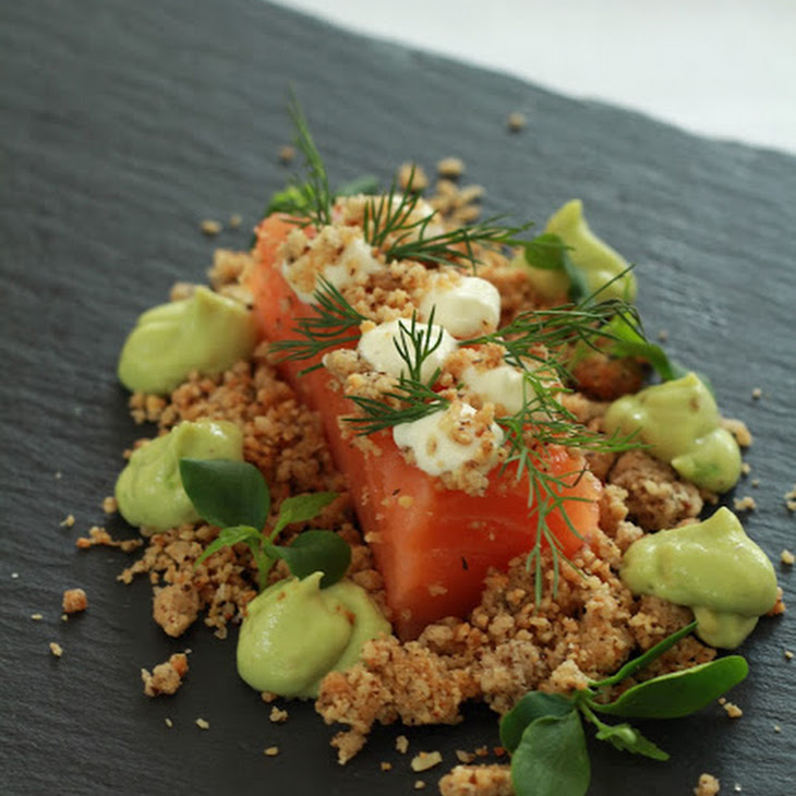 Salmon Fillets with Hazelnut Crumble and Avocado and Horseradish Whipped Cream Recipe