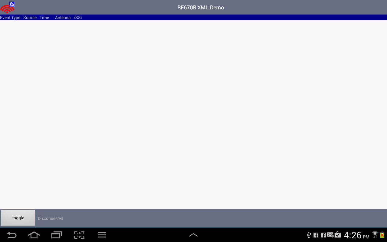 RF670R XML Demo App- screenshot