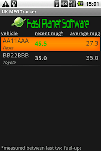UK MPG Tracker - screenshot thumbnail