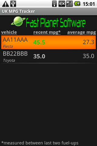 UK MPG Tracker - screenshot
