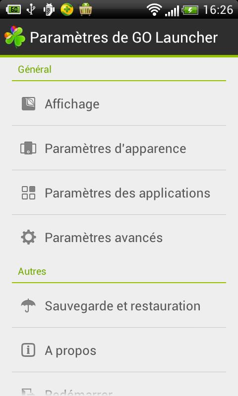 GO LauncherEX French language - screenshot