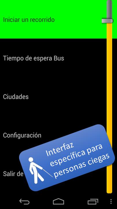 Fotografía de un móvil con la interface de usuario adaptada para el uso de una persona ciega.