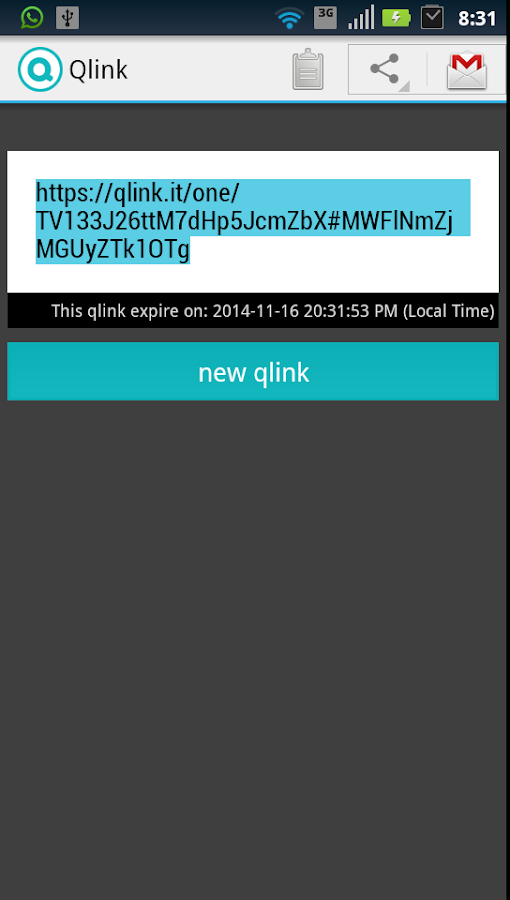 Qlink.it: captura de pantalla