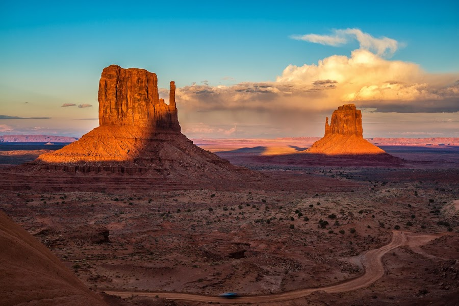 Mittens Sunset by Rusty Parkhurst - Landscapes Sunsets & Sunrises ( monument valley, 2014, sunset, desert southwest, east and west mittens )