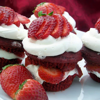 Valentine's Red Velvet Strawberry Short-Cupcakes.