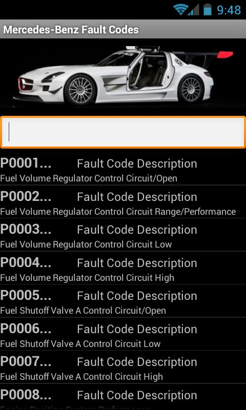 Mercedes-Benz Fault Codes - screenshot