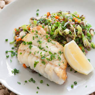 Seared Hake with Warm Lentils & Brussels Sprouts.