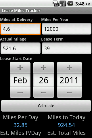 Lease Miles Tracker- screenshot