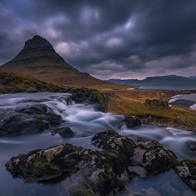Envision your Daydreams by Daniel Herr - Landscapes Mountains & Hills ( clouds, kirkjufell, wilderness, iceland, sunset, waterfall, church mountain, landscape )