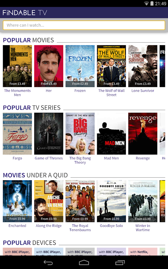 Findable tv tv movie search android apps on google play Online series sites