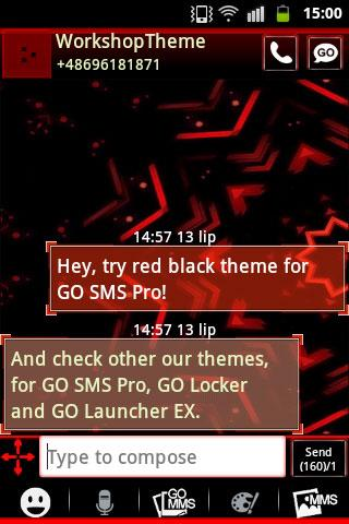 Red Black GO SMS Theme - screenshot