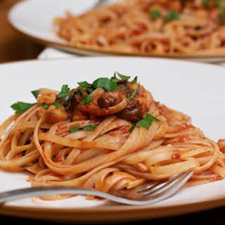 Linguine Puttanesca with Chickpeas.