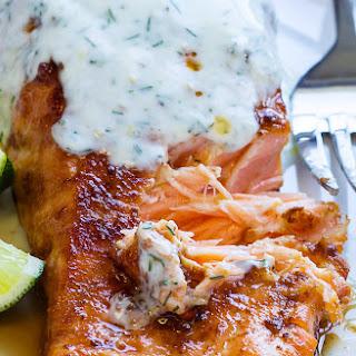 Spicy Harissa-Glazed Salmon with Yogurt Sauce