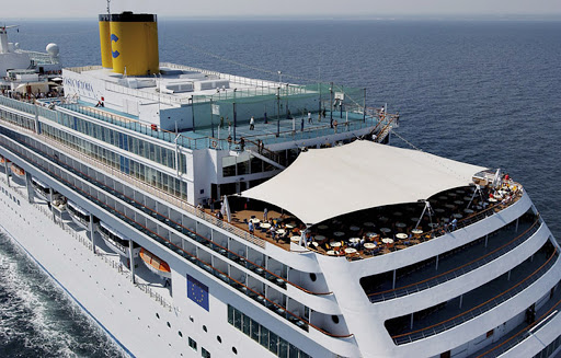 Costa-Victoria-aerial-3 -  A view of Costa Victoria's upper stern deck.