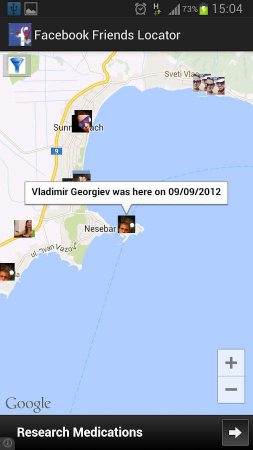 Friends Locator for Facebook - screenshot