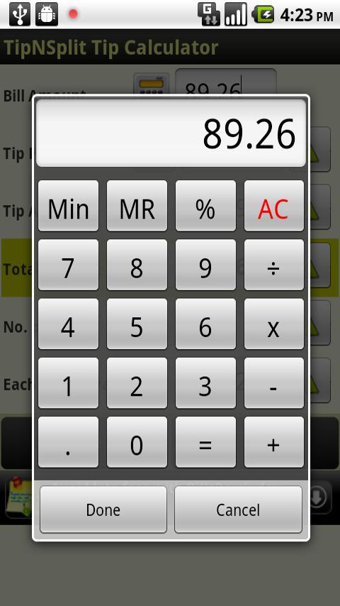 Tip N Split Tip Calculator - screenshot