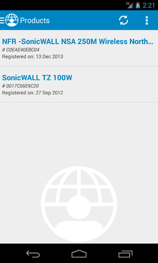 MySonicWALL- screenshot