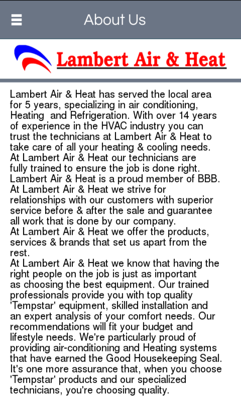 Lambert Air & Heat LLC- screenshot