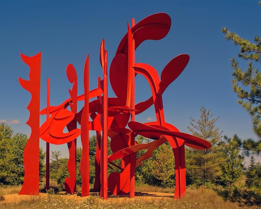 Aria by Luanne Bullard Everden - Artistic Objects Other Objects ( michigan, sculptures, red, frederik meijer, trees, gardens, alexander liberman, aria, artwork, skies,  )