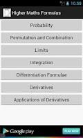 Screenshot of Higher Maths Formulas