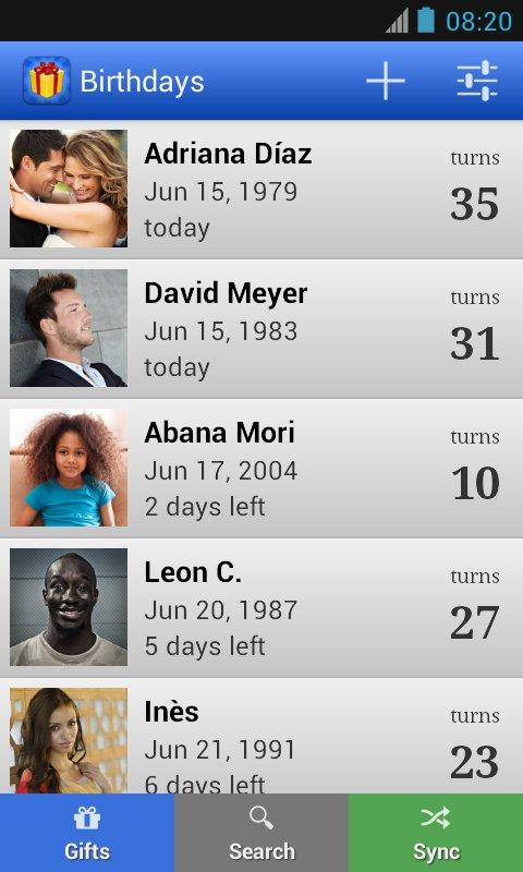 Birthdays for Android - screenshot