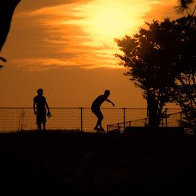 Skaters at Sunset by Lenny Sharp - Landscapes Sunsets & Sunrises ( park, sunset, fun, recreation, skateboard )