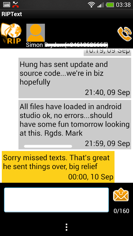 RIPText SMS RIP Text message- screenshot