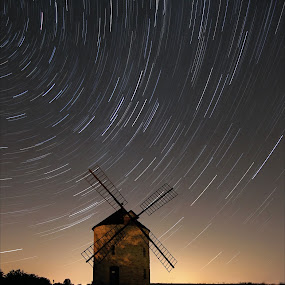 ...night photography at the windmill... by Pavel Olivík - Landscapes Starscapes