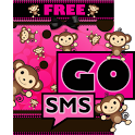 Cute Pink Monkey Theme GO SMS icon