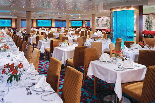 Norwegian-Dawn-restaurant-Aqua - The dimmed lighting of Aqua, one of Norwegian Dawn's main restaurants,  creates a romantic ambience.