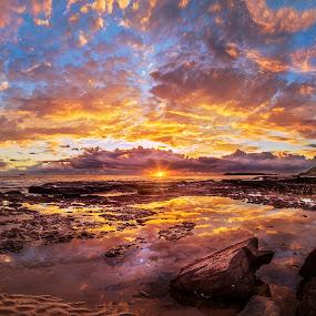 MM Beach by Chris Gonzalez - Landscapes Sunsets & Sunrises ( water, clouds, red, blue, australia, sunrise, beach, rocks )