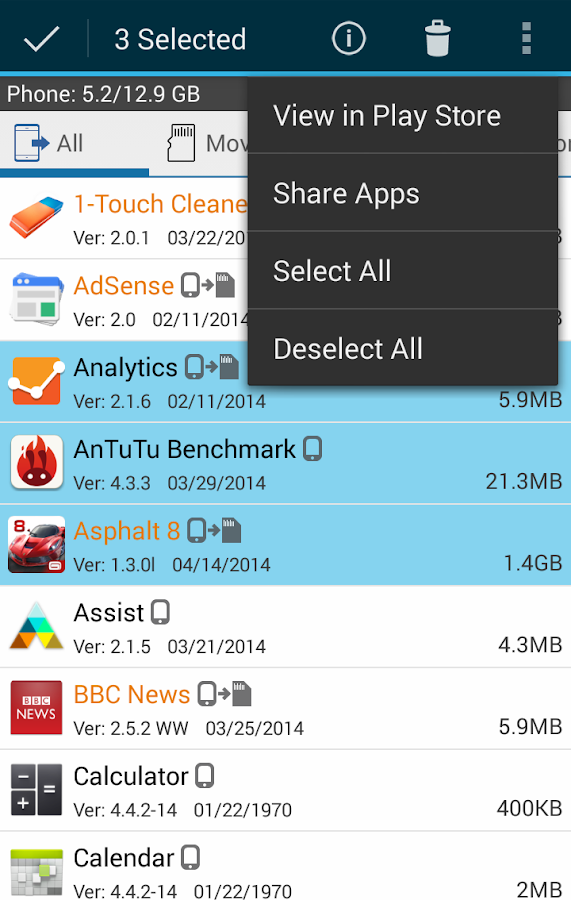 ManageApps (MoveApps - App2SD) - screenshot