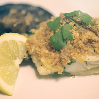 Lemon and Butter Crusted Cod with Garlic Portobello Mushroom