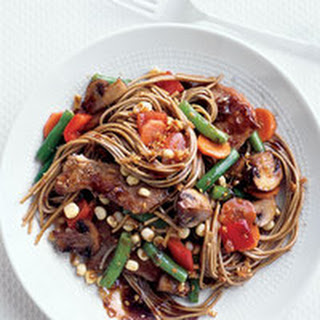 Asian Noodles with Vegetables and Pork.